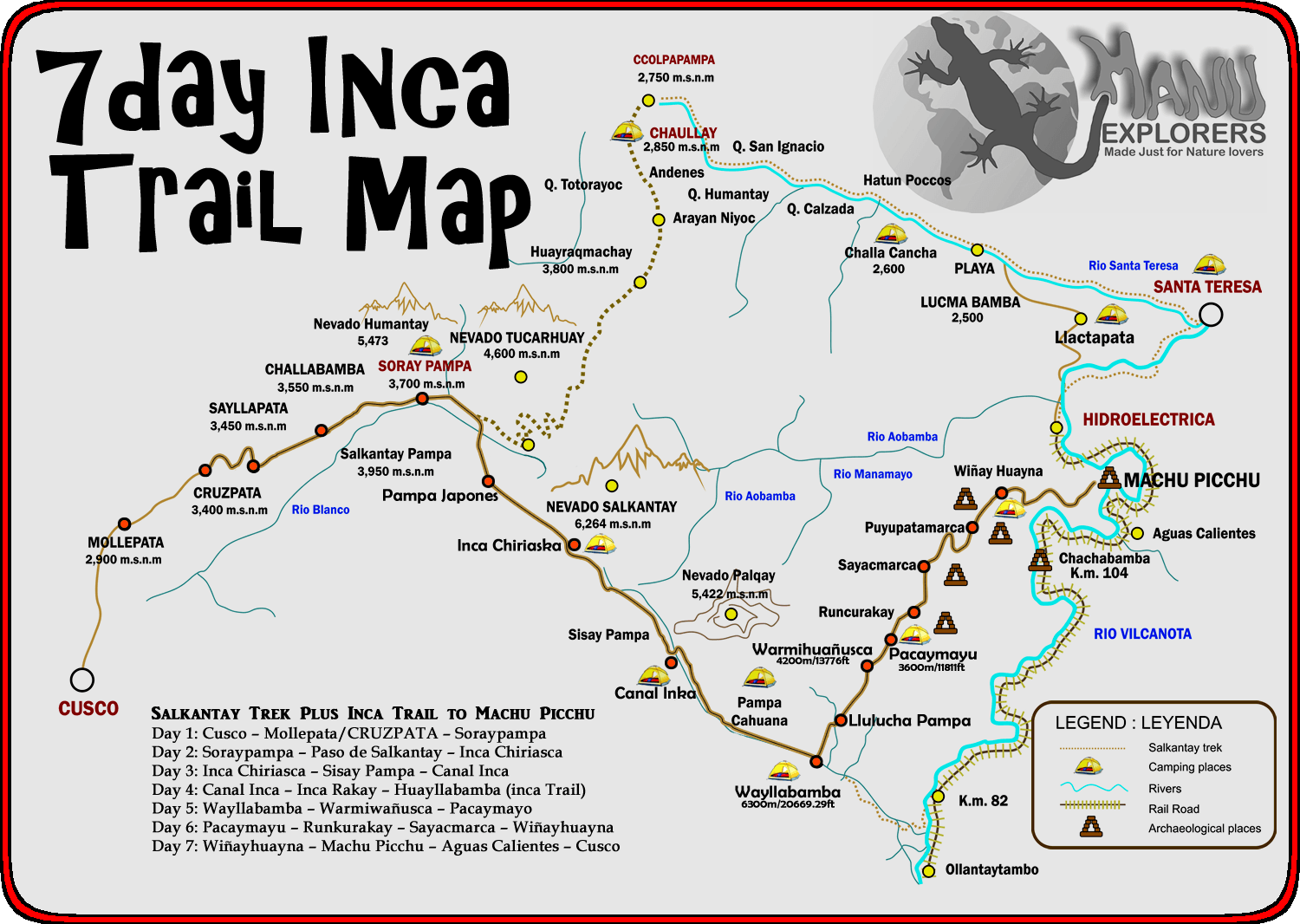 7day Inca Trail Map